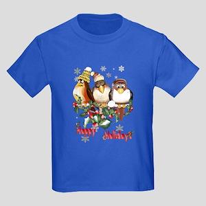 Happy Holidays Chirstmas Bird Kids Dark T-Shirt