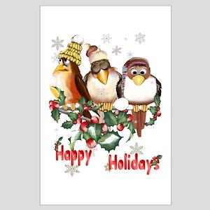 Happy Holidays Chirstmas Bird Large Poster