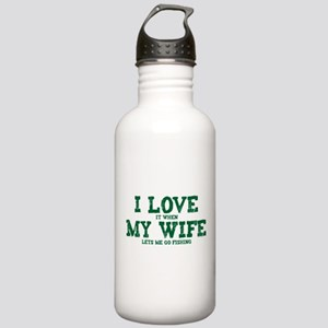 WIFE LETS ME GO FISHING Stainless Water Bottle 1.0