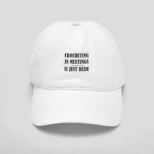Crocheting in Meetings Cap