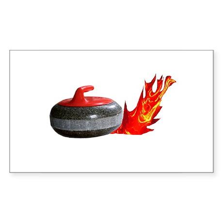 Flaming Rock Rectangle Sticker