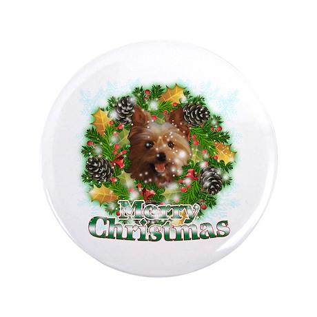 "Merry Christmas Yorkie 3.5"" Button"