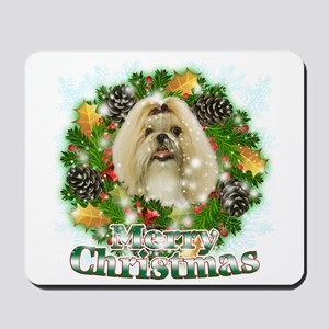 Merry Christmas Shih Tzu Mousepad