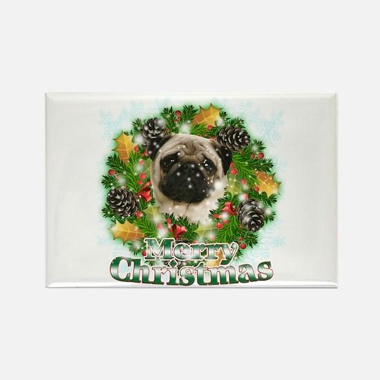 Merry Christmas Pug Rectangle Magnet