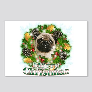 Merry Christmas Pug Postcards (Package of 8)
