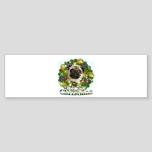Merry Christmas Pug Sticker (Bumper)