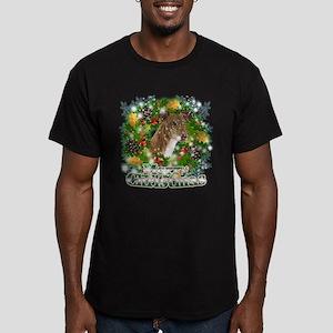 Merry Christmas Greyhound Men's Fitted T-Shirt (da