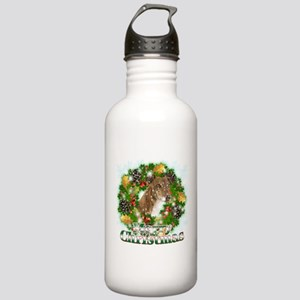 Merry Christmas Greyhound Stainless Water Bottle 1