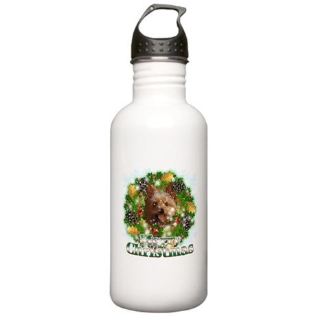 Merry Christmas Yorkie Stainless Water Bottle 1.0L