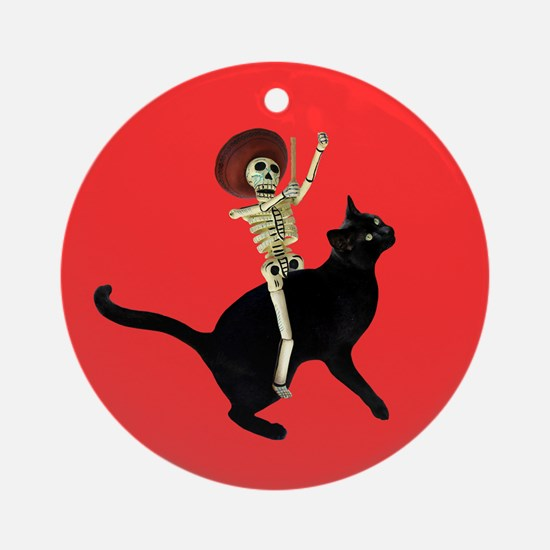 Skeleton Cat Red Ornament (Round)
