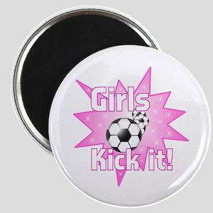 Girls Kick It Soccer Magnet