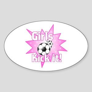 Girls Kick It Soccer Sticker (Oval)