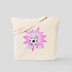 Girls Kick It Soccer Tote Bag