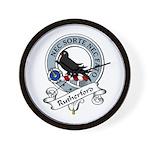 Rutherford Clan Badge Wall Clock