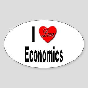 I Love Economics Oval Sticker