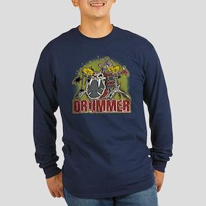 Skeleton Drummer Long Sleeve Dark T-Shirt