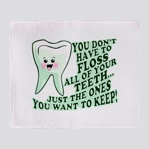 Funny Dental Hygiene Throw Blanket