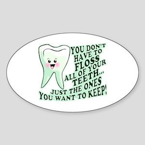 Funny Dental Hygiene Sticker (Oval)