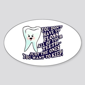 Brush and Floss Sticker (Oval)