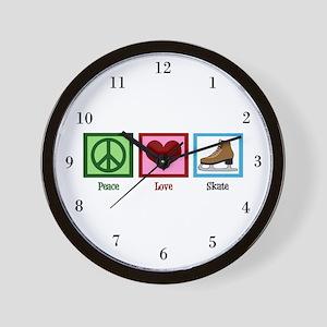 Peace Love Ice Skating Wall Clock