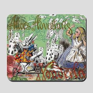 Alice in Wonderland Adventure Vintage Fl Mousepad