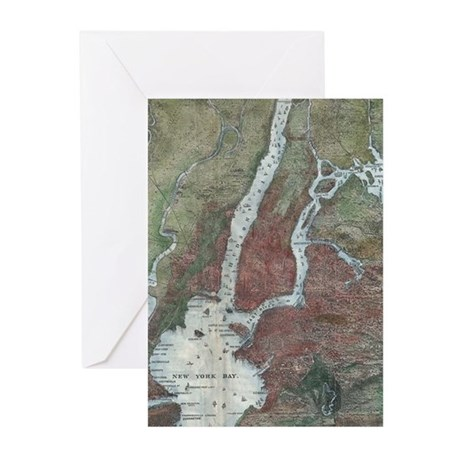 Vintage Map of The NYC Area (1871) Greeting Cards