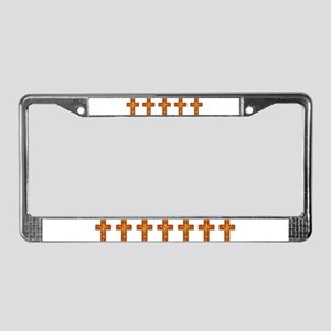 Gold Leaf Cross License Plate Frame