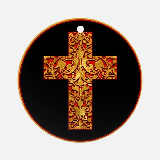 Gold Leaf Cross Ornament (Round)