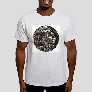 Buffalo Nickel Double-Sided Ash Grey T-Shirt