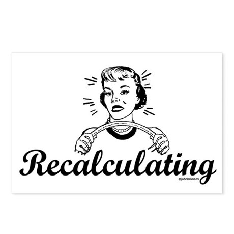 Recalculating Woman Postcards (Package of 8)