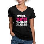 Sawyer Thing Women's V-Neck Dark T-Shirt