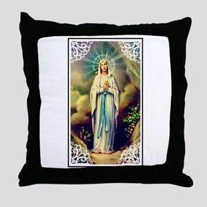 Virgin Mary - Lourdes Throw Pillow
