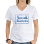 Plymouth Minnesnowta Women's V-Neck T-Shirt