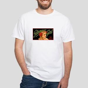 Vintage Pinup Glamour Girl White T-Shirt