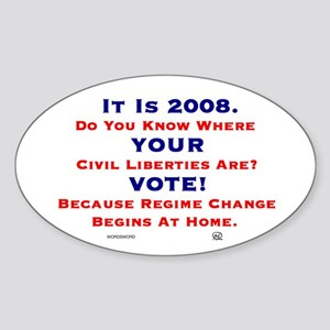 It Is 2008 VOTE Oval Sticker