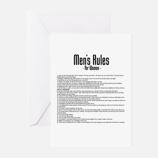 Men's Rules Greeting Cards (Pk of 10)