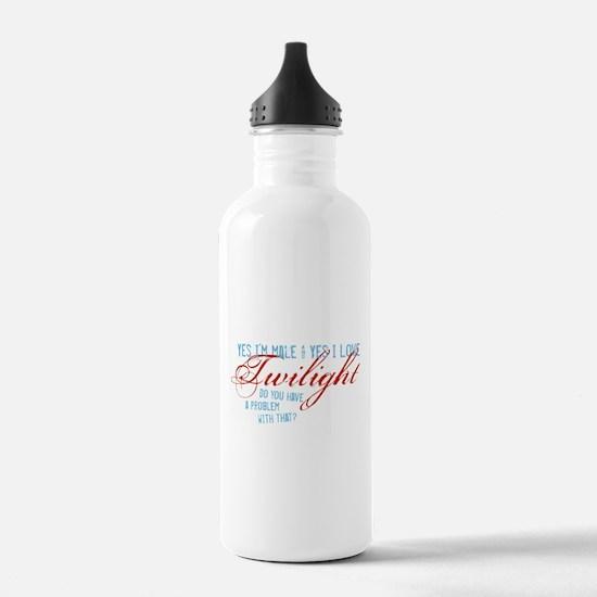 Male Who Loves Twilight Water Bottle