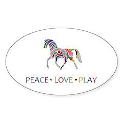 Peace Love Play Sticker (Oval)