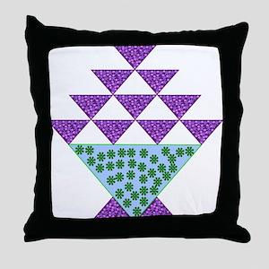 Flower Pot Quilt Throw Pillow