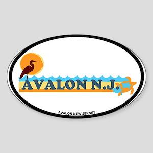 Avalon NJ - Beach Design Sticker (Oval)