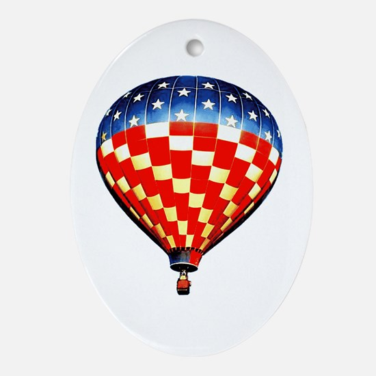 American Hot Air Balloon Ornament (Oval)