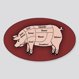 Pork Cuts 1 Sticker (Oval)