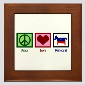 Peace Love Democrat Framed Tile