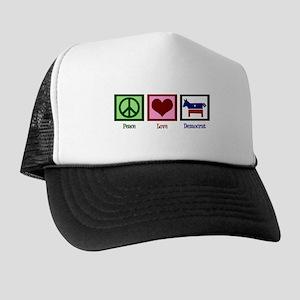 Peace Love Democrat Trucker Hat