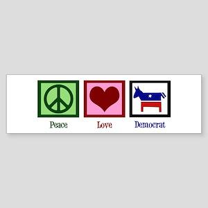 Peace Love Democrat Sticker (Bumper)