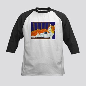 Orange Coffee Cat Kids Baseball Jersey