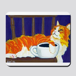Orange Coffee Cat Mousepad
