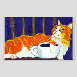Orange Coffee Cat Rectangle Sticker