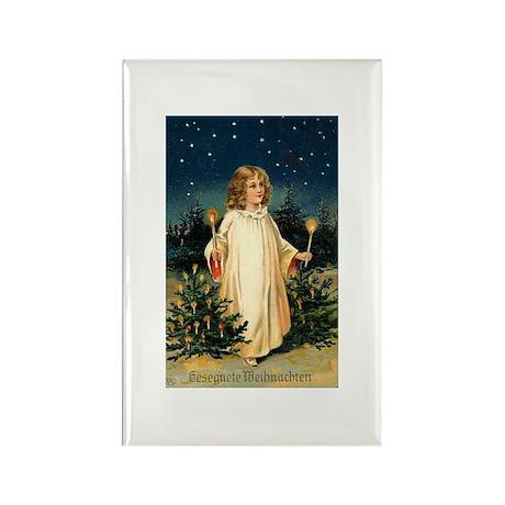Vintage German Christmas Postcard Rectangle Magnet