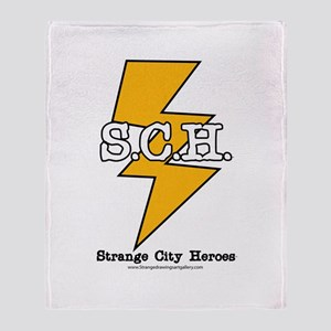 Strange City Heroes Logo Throw Blanket